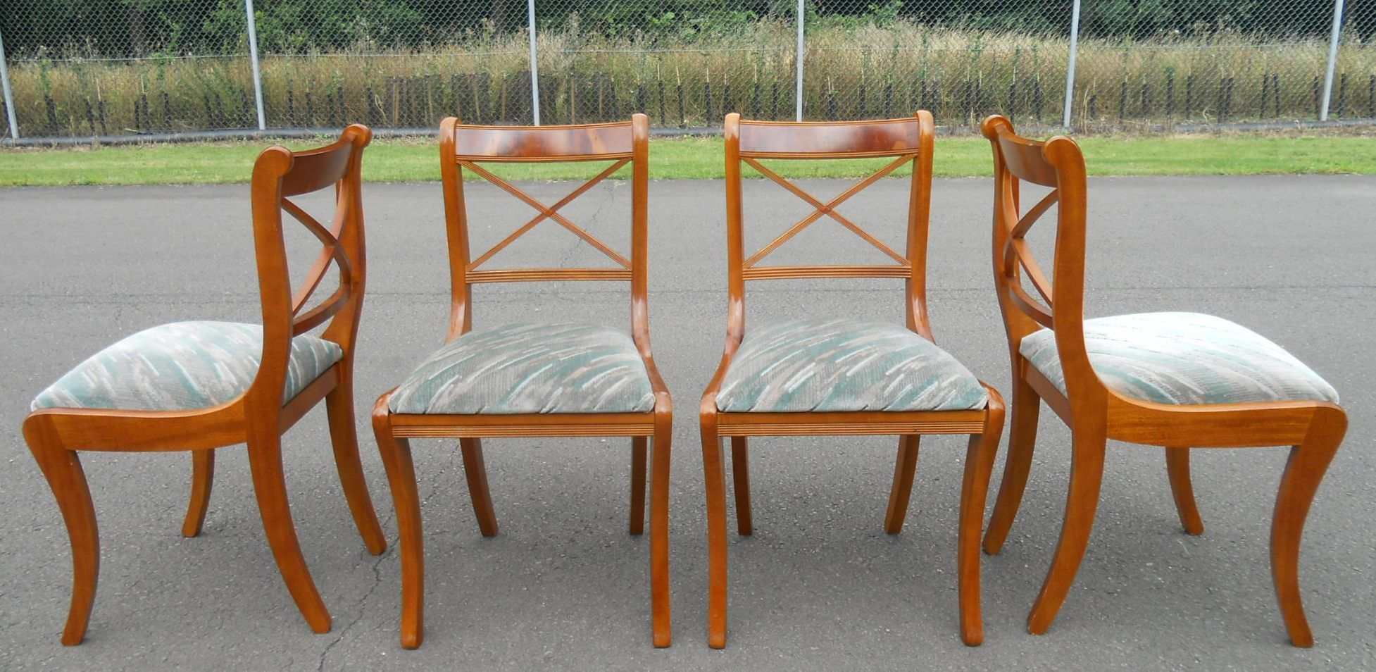 yew dining room furniture | SOLD - Set of Four Sabre Leg Yew Dining Chairs